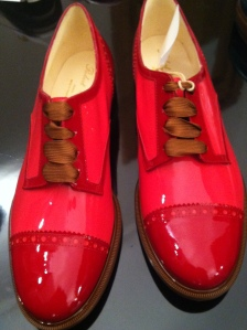 Red shiny male shoes